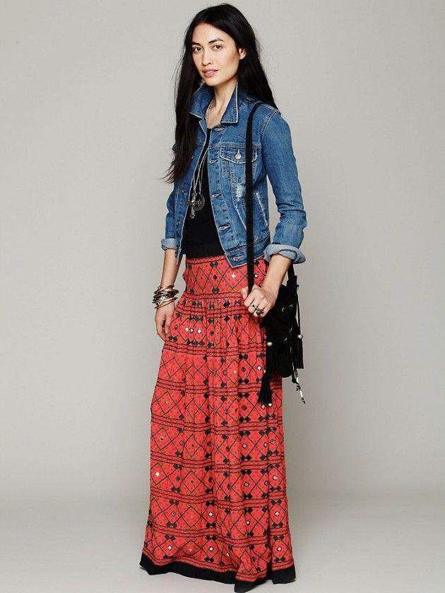 17 Best images about Maxi skirt ideas on Pinterest  Denim jackets ...