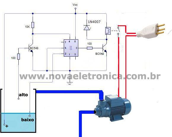 Este circuito de Controle Automático de Bomba D'água ou acionador automático de bomba d'água automatiza o enchimento da caixa de água, mantendo sempre cheia
