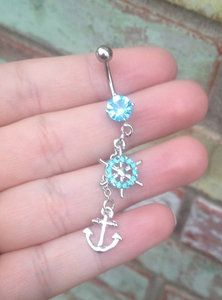 Image of [grhmf22000005]Unique Ship's Wheel Anchor Belly Button Ring