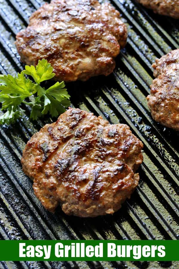 A Truly Easy Recipe For Grilled Burgers Quickly Mix The Ground Beef With Yummy Spices Form The Patties Then G In 2020 Grilled Burger Recipes Grilled Burgers Recipes
