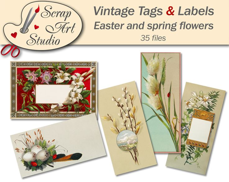 Tags and labels Easter printable vintage picture egg spring flower feather decor gift antique watercolour art printable card vintage design