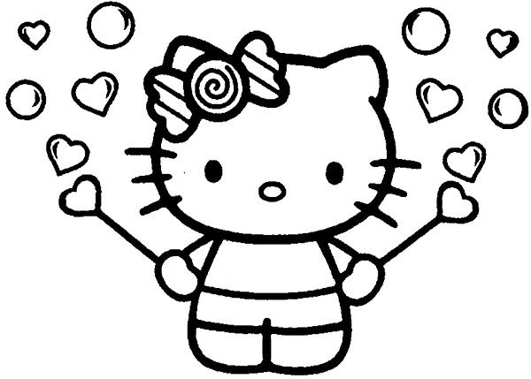Hello Kitty Ballons Coloring Pages