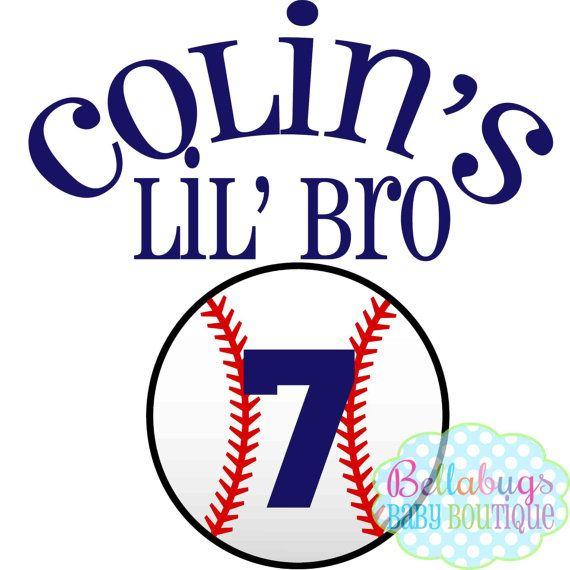 Baseball Little Brother Iron on Transfer Tshirt by BellabugsBaby