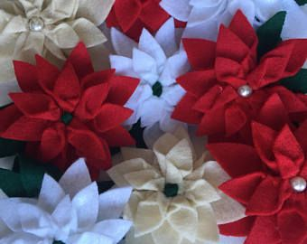 Christmas poinsettia baby headband and clips