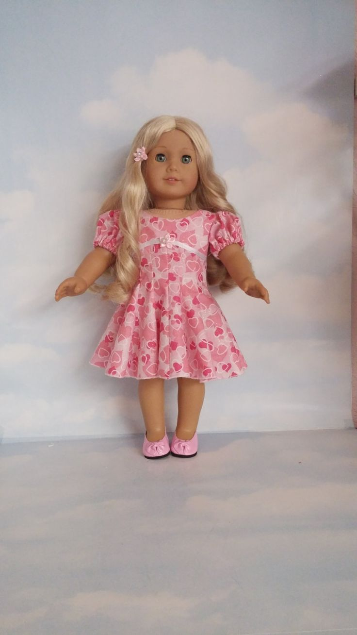 18 inch doll clothes- Valentine Heart Dress handmade to fit the American Girl Doll - FREE SHIPPING by susiestitchit on Etsy