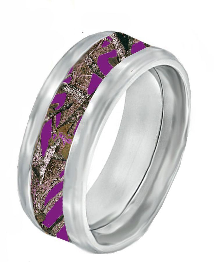 Purple Camo On Black Band Ring