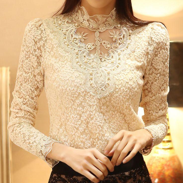 New Spring 2014 Women Crochet Blouse Lace Chiffon Shirt Women Clothing Basic…