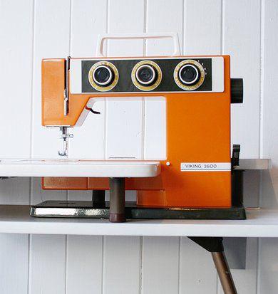 orange vintage sewing machine