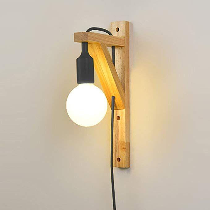 Noilyn- Lampade da parete in legno moderne con cavo semplici ...