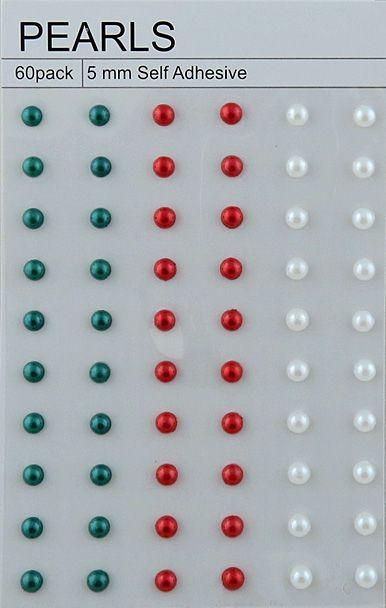 "60 CHRISTMAS COLOR SELF ADHESIVE PEARLS - ⅕"" (5mm)"