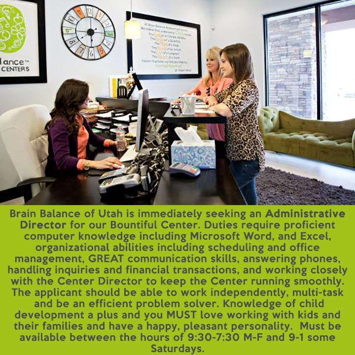 Do you want to make a difference in a #child's life? #BrainBalance of #Utah is immediately seeking an #AdministrativeDirector for their #Bountiful Center. Duties require proficient computer knowledge including #MicrosoftWord, and #Excel, #organizational abilities including #scheduling and #officemanagement, GREAT #communicationskills, answering phones, handling inquiries and #financial transactions, and working closely with the Center Director to keep the Center running smoothly. The…