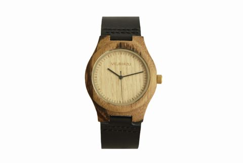 wood watch crafted from oak and zebrawood