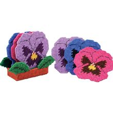 Herrschners: Pansy Coasters with Holder (MW270031) $12.99