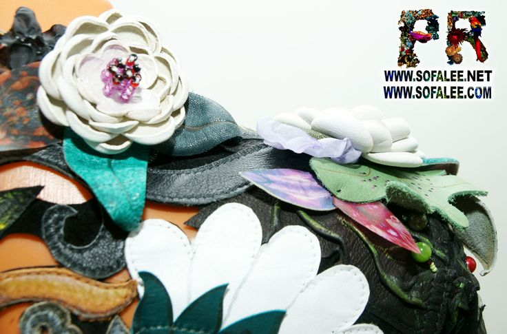 цветочная куртка из кожи с перфорацией