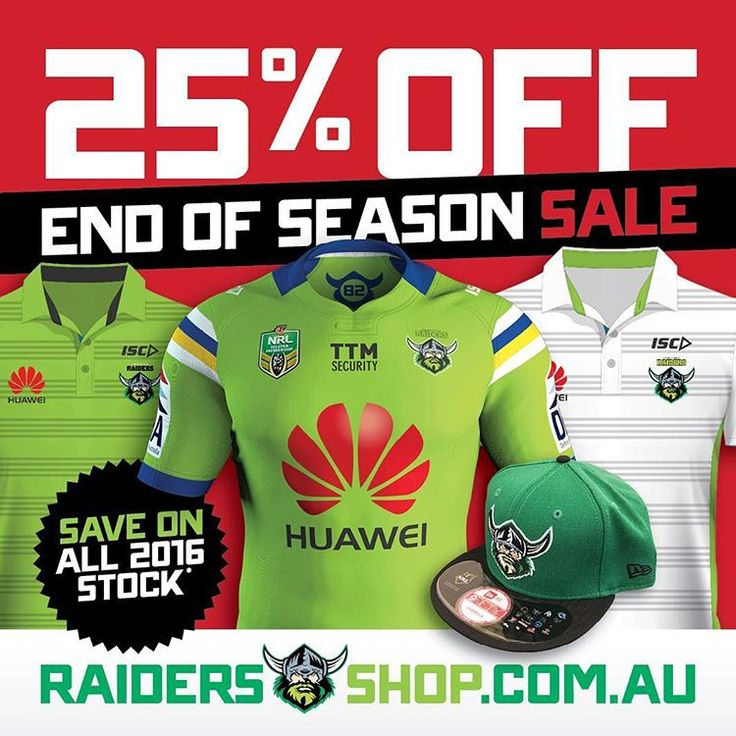 Grab a bargain now with 25% off storewide in the Raiders Shop END OF SEASON SALE! Shop now at RaidersShop.com.au (link in profile), use…