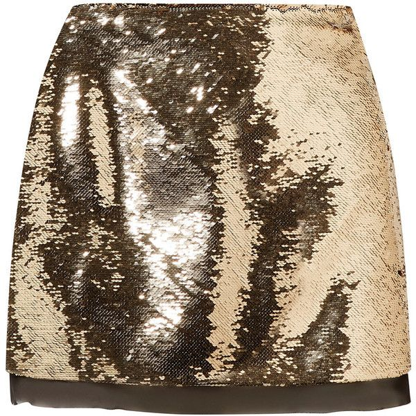 Rachel Zoe Finn sequined chiffon mini skirt (77.615 HUF) ❤ liked on Polyvore featuring skirts, mini skirts, gold, short skirts, sequin mini skirt, metallic skirt, mini skirt and holiday skirts