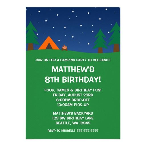 425 best Camping and Sleepover Birthday Party Invitations images on - best of birthday invitations sleepover party