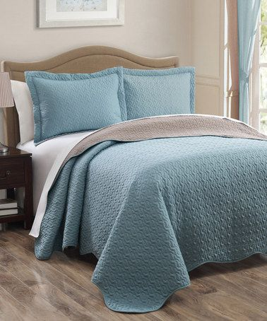 Look at this zulilyfind spa blue taupe dayton for Blue and taupe bedroom ideas