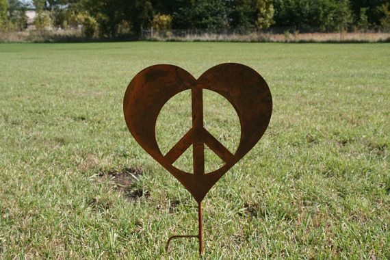 Metal Heart Peace Sign Garden Stake Valentine heart heart