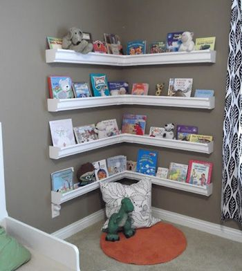 Bookshelves made from eavestrough look surprisingly stylish.