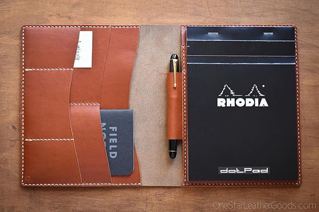 #rhodia #padfolio. Available by request. #notebook #pen #fountainpen #pilotpen #fieldnotes #leather #leathergoods #horween #handmade #stationery #etsy #etsyshop #etsyfinds