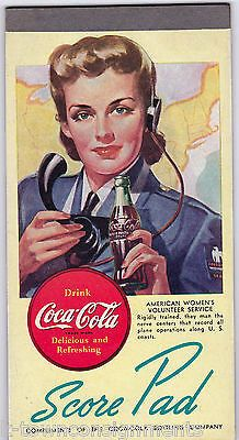 WWII WOMEN IN MILITARY VINTAGE COCA-COLA GRAPHIC ADVERTISING COKE SCORE PAD