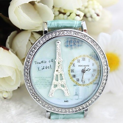 Polymer clay cartoon rhinestones romantic Paris Crystal Tower retro watch for a big sale in bygoods.com