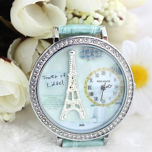 Polymer clay cartoon rhinestones romantic Paris Crystal Tower retro watch for a big sale in bygoods.com