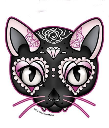 sugar skull kitty | Black Pink Lucky Cat Sugar Skull Style Diamond Rose Sticker Decal ...