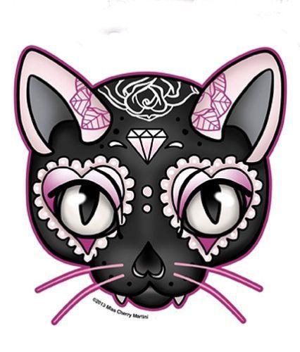 sugar skull kitty   Black Pink Lucky Cat Sugar Skull Style Diamond Rose Sticker Decal ...