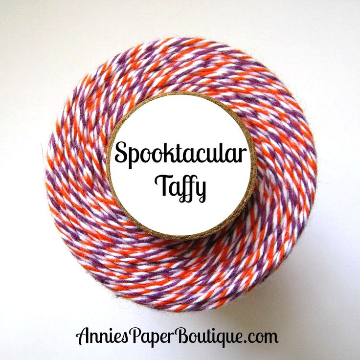 Spooktacular Taffy Trendy Twine - purple, white, and orange bakers twine - Halloween bakers twine