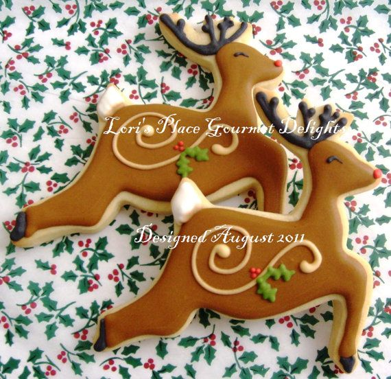 reindeer decorated cookies christmas cookies 6 cookies