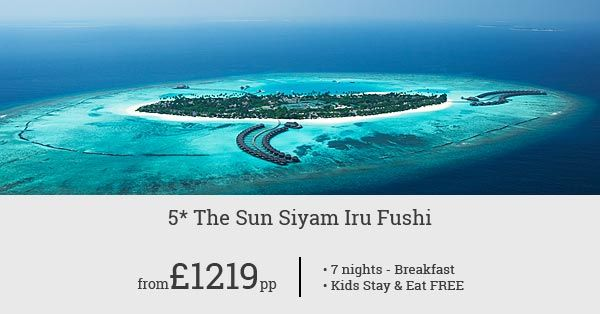Experience the world class hospitality of Sun Siyam Iru Fushi at £1369pp for 7 nights. Free room upgrade and complimentary breakfast!