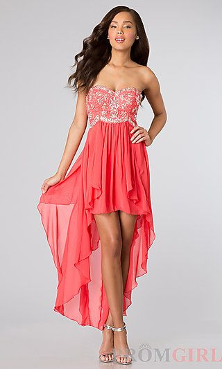 High Low Strapless Party Dress at PromGirl.com