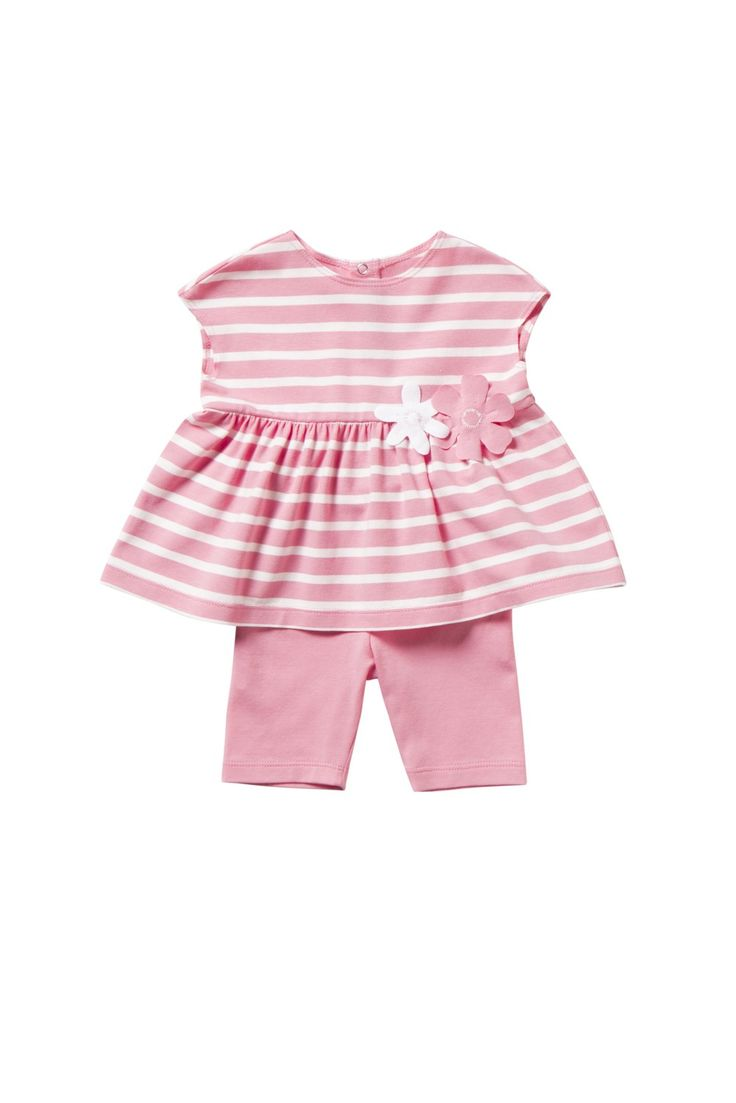 Italian Luxury TWO-PIECE OUTFIT IN WHITE AND PINK STRIPED JERSEY   Il Gufo