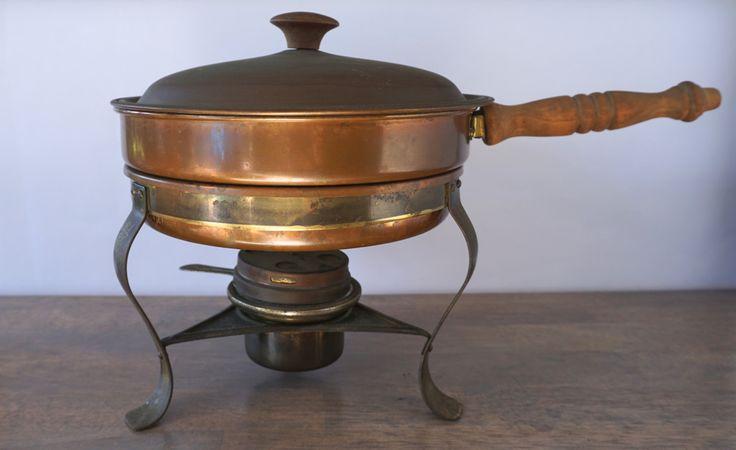 Vintage Copper Chafing Dish, Copper Fondue Pot, Rustic Decor, Farmhouse Decor, Fixer Upper Decor by ForeverCharmVintage on Etsy