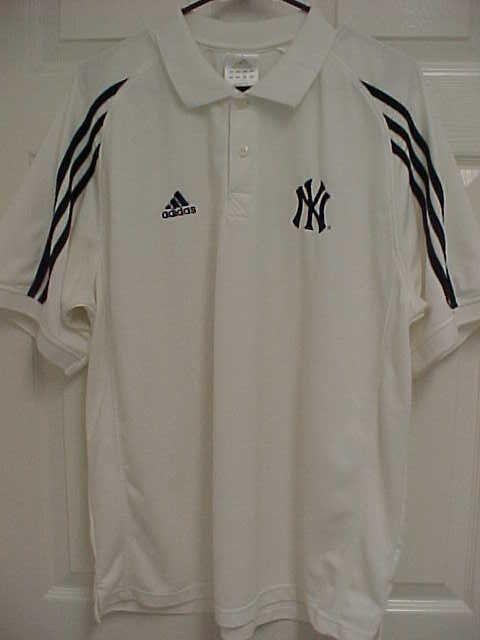 NEW YORK YANKEES Men White Stripes Logo Golf Short Sleeve Polo Shirt L  Adidas  adidas  NewYorkYankees a74ec92cb3e