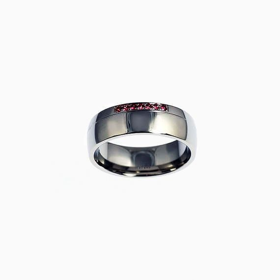 Classic Duro Ring with Rubies in Palladium