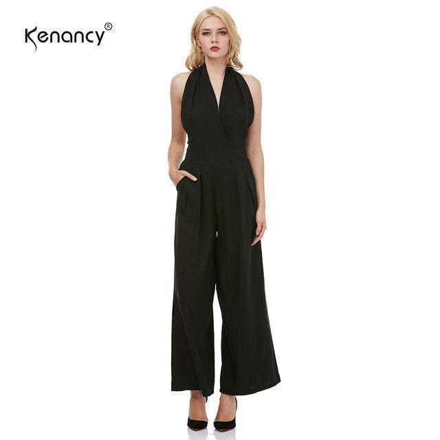 Elegant Women Halter Jumpsuit Fashion Sleeveless Backless Wide Leg Jumpsuit for Women Black Rompers