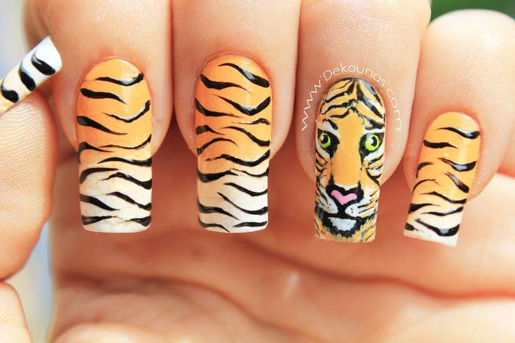 Decoración de uñas tigre animal print - Tiger animal print nail art