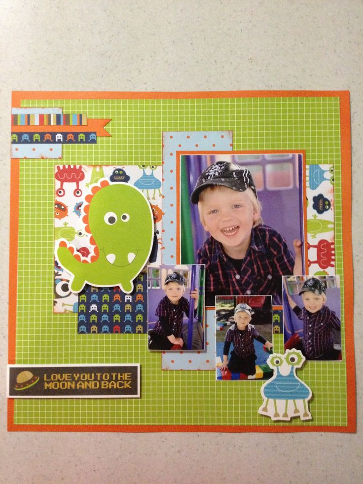 "Kaisercraft papers ""Blast Off!"" - so cute! One of my all-time favourite scrapbook layouts!!"