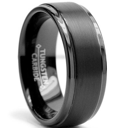 8MM Black High Polish / Matte Finish Men's Tungsten Ring Wedding Band Sizes 6 to 15 - $19.99 - SAVE 93%