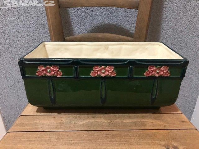 Secesní keramický puclák - nádoba na kytky, - obrázek číslo 1