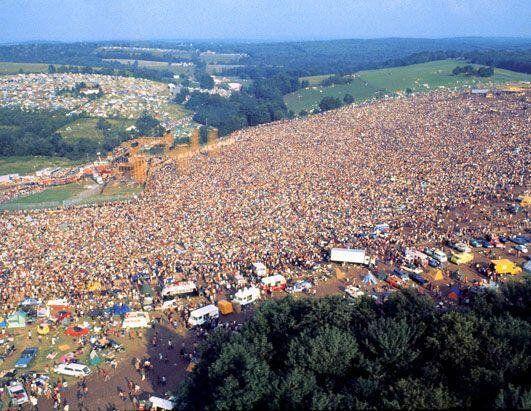 Aerial shot of Woodstock in 1969.