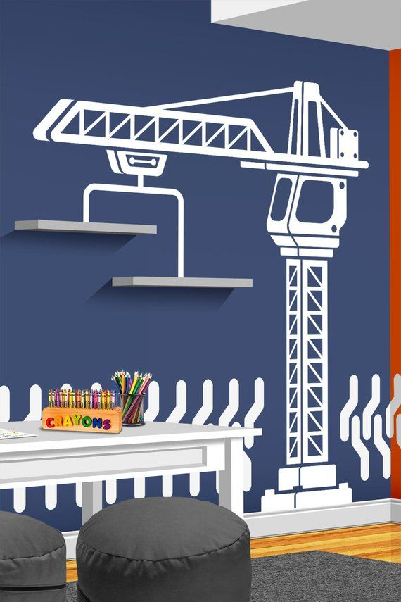 Construction Crane Vinyl Wall Decal – Boys Bedroom Wall Decal – Nursery Decor – Construction Wall Decor – Playroom Decal – Crane Wall Decal