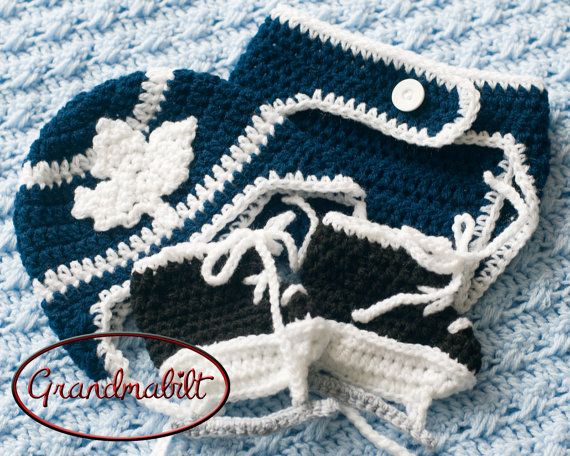 Blue and White TORONTO MAPLE LEAFS Baby Girls or Boys Crocheted Hockey Hat, Diaper Cover & Skates on Etsy, $52.16 CAD