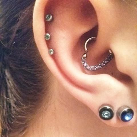 Crystal Heart Rook Daith Piercing Jewelry - Cute Multiple Ear Piercing Ideas at MyBodiArt.com