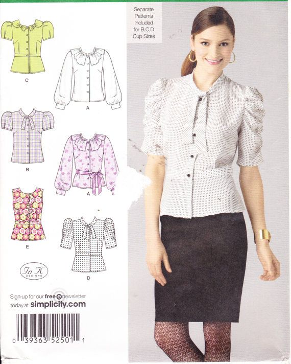 Womens sewing pattern button down shirt simplicity 2501 for Womens patterned button down shirts