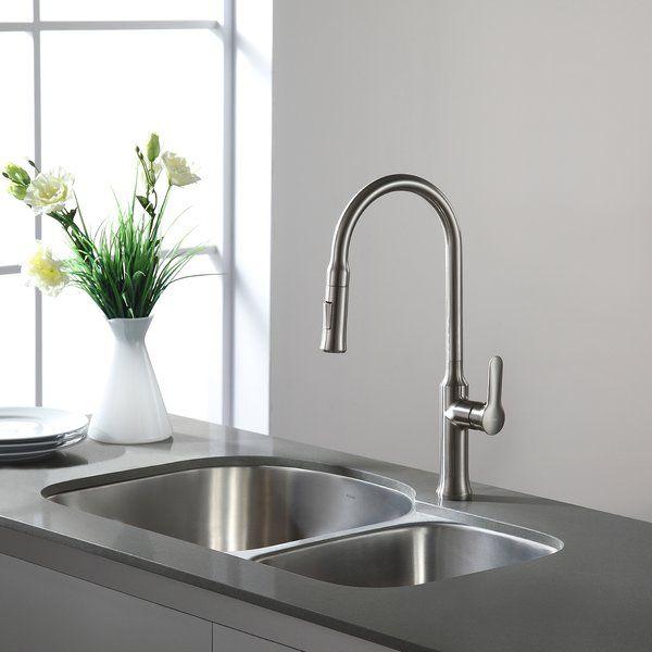 Premier 29 L X 20 W Double Basin Undermount Kitchen Sink With Basket Strainer Kitchen Faucet Undermount Kitchen Sinks Sink