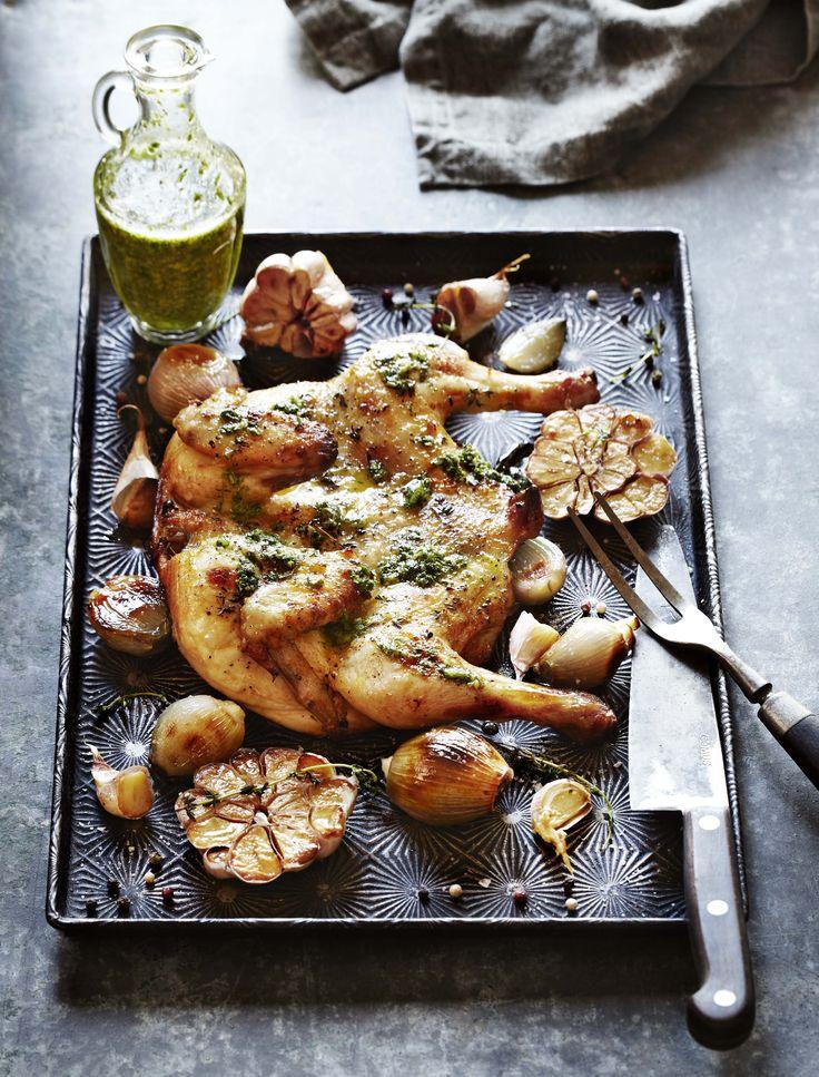 Butterflied chicken with salsa verde